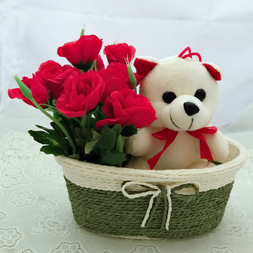send flower Seelampur Delhi10 Artificial Red Roses & Teddy (Only For Delhi)