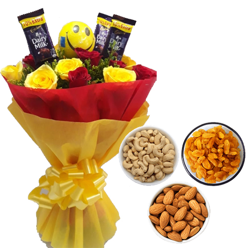 Roses & Chocolate Bunch & 750Gm Mix Dry Fruits