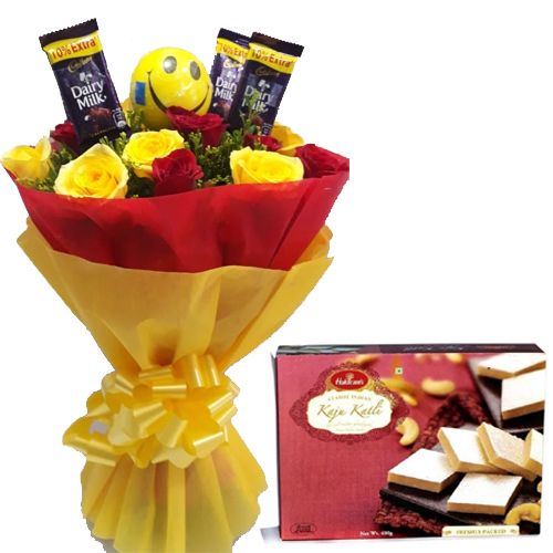 Roses & Chocolate Bunch & 1/2Kg Kaju Burfi Box