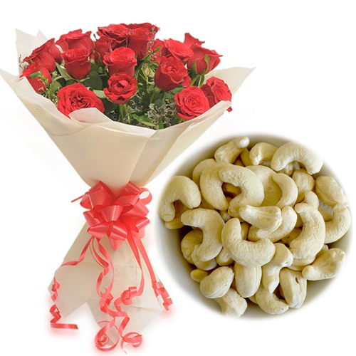 send flower Paryavaran Complex DelhiRoses Bunch & 1/2Kg Kaju Dry Fruit