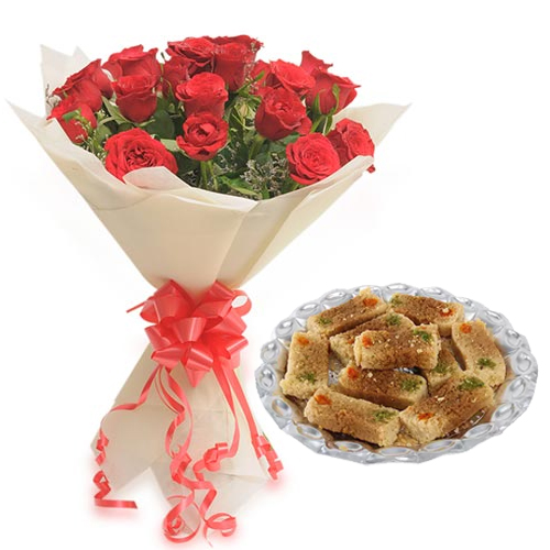 send flower Ansari Nagar DelhiRoses Bunch & 500Gm Milk Cake Sweet
