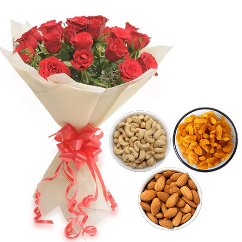 send flower Dwarka DelhiRoses Bunch & 750Gm Mix Dry Fruits