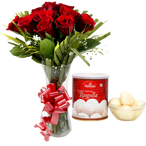 send flower Jagatpuri DelhiRoses in Vase & 1Kg Rasgulla Pack