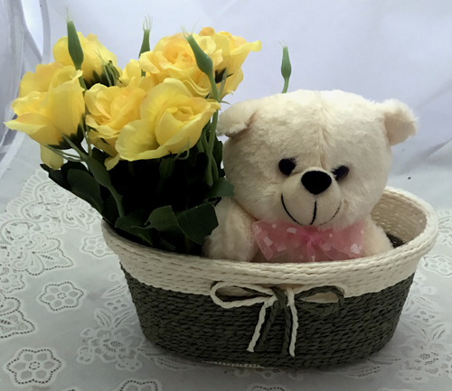 send flower Defence Colony DelhiArtificial 10 Yellow Roses & Teddy (Only For Delhi)