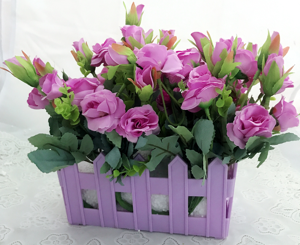 send flower Seelampur Delhi40 Artificial Mini Purple Roses in Purple Basket (Only For Delhi)
