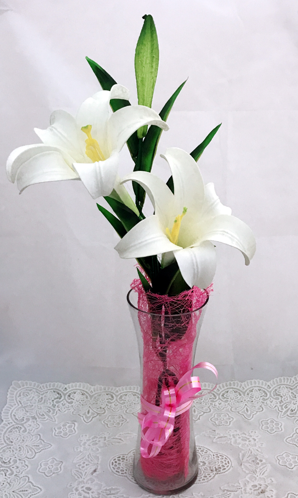 send flower Defence Colony DelhiArtificial 2 White Lily & 1 Bud in Vase (Only For Delhi)