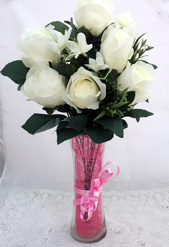 send flower Seelampur Delhi7 Artificial White Roses in Vase (Only For Delhi)