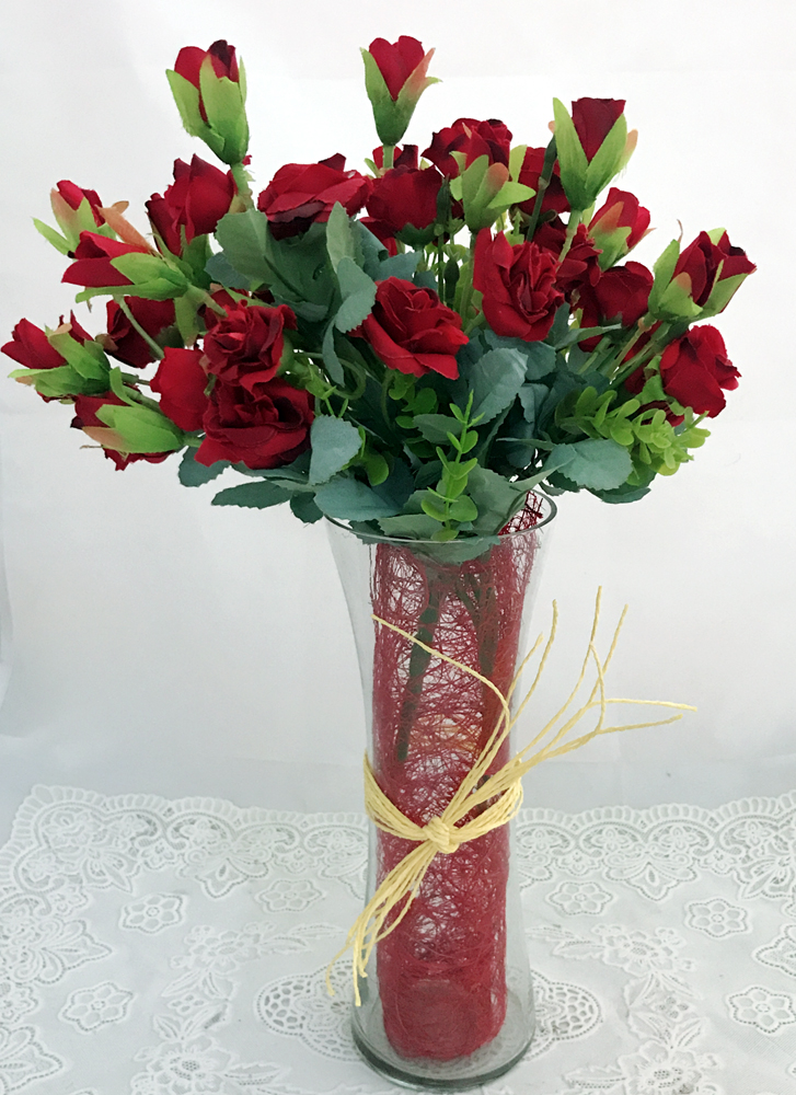 send flower Sagarpur Delhi30 Artificial Mini Red Rose in Vase (Only For Delhi)