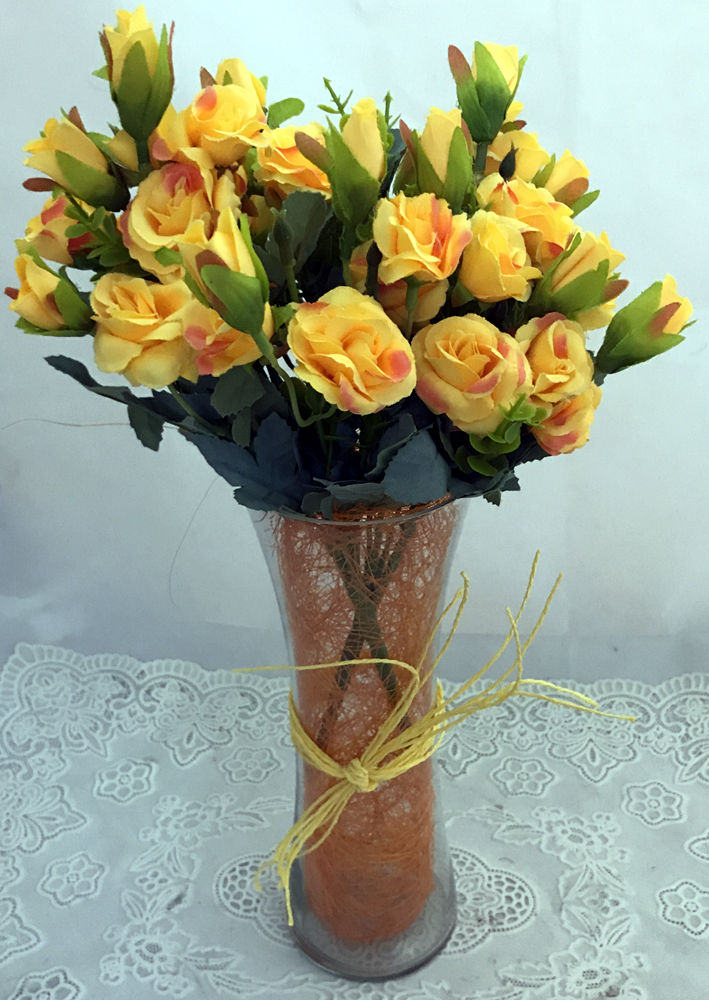 send flower Defence Colony DelhiArtificial 30 Yellow Mini Roses Buds in a Glass Vase  (Only For Delhi)
