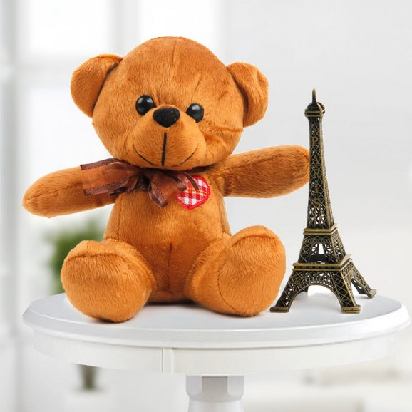 send flower Seelampur Delhi6 Inch Cute Teddy & 5 Inch Eiffel Tower Combo (Only For Delhi)