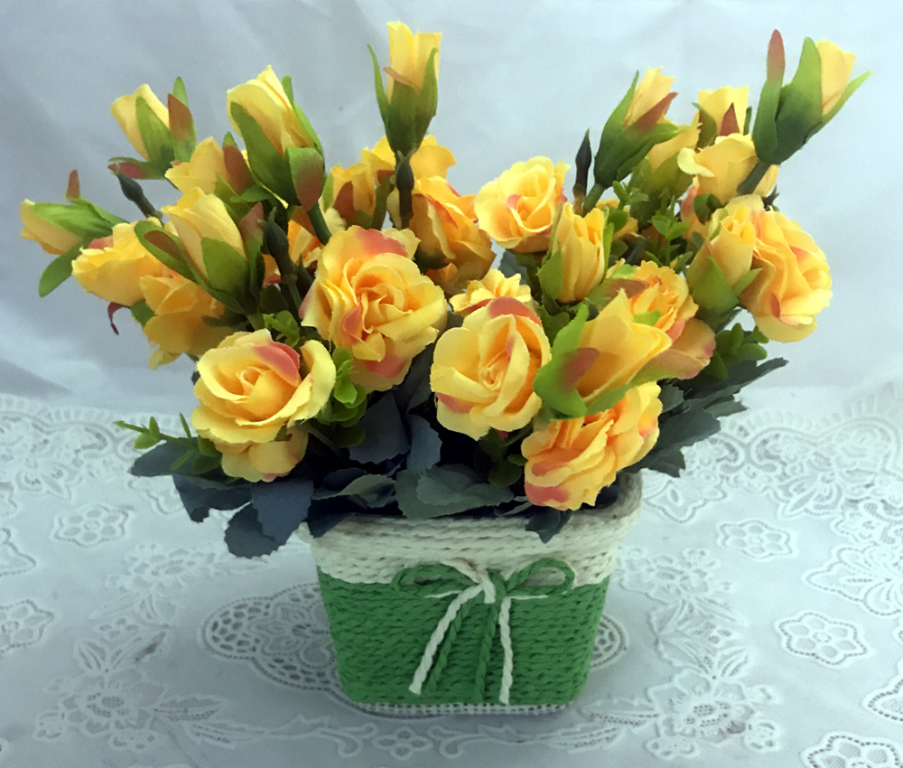 send flower Defence Colony DelhiCute & Small Yellow Mini Roses in Unbreakable Pot (Artificial) For Delhi