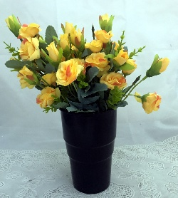 send flower Seelampur DelhiArtificial Yellow Mini Roses in a Black Plastic Vase (Only For Delhi)