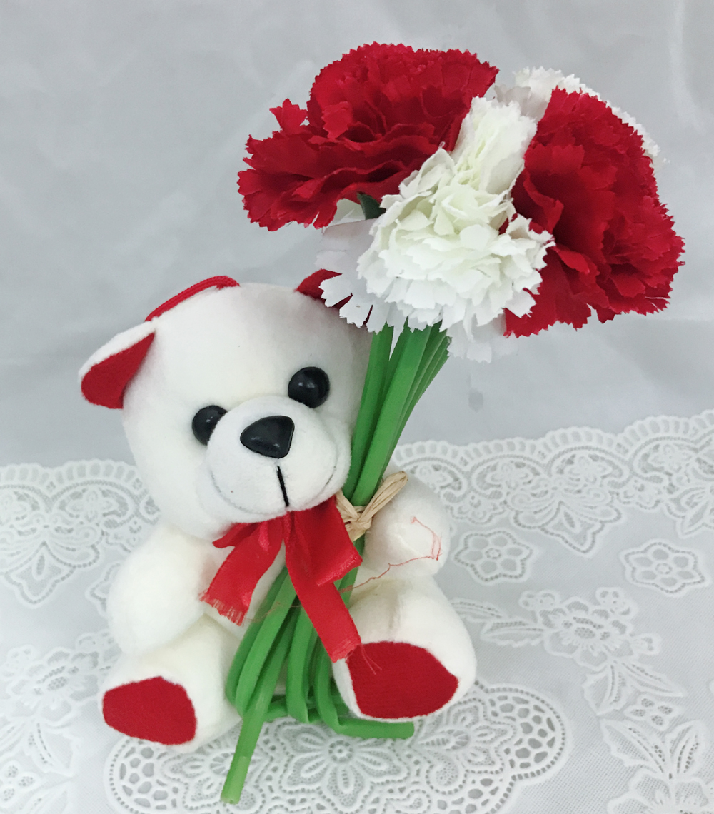 send flower Nangloi6 Inch Teddy with Artificial 6 Red & White Carnations (Only For Delhi)