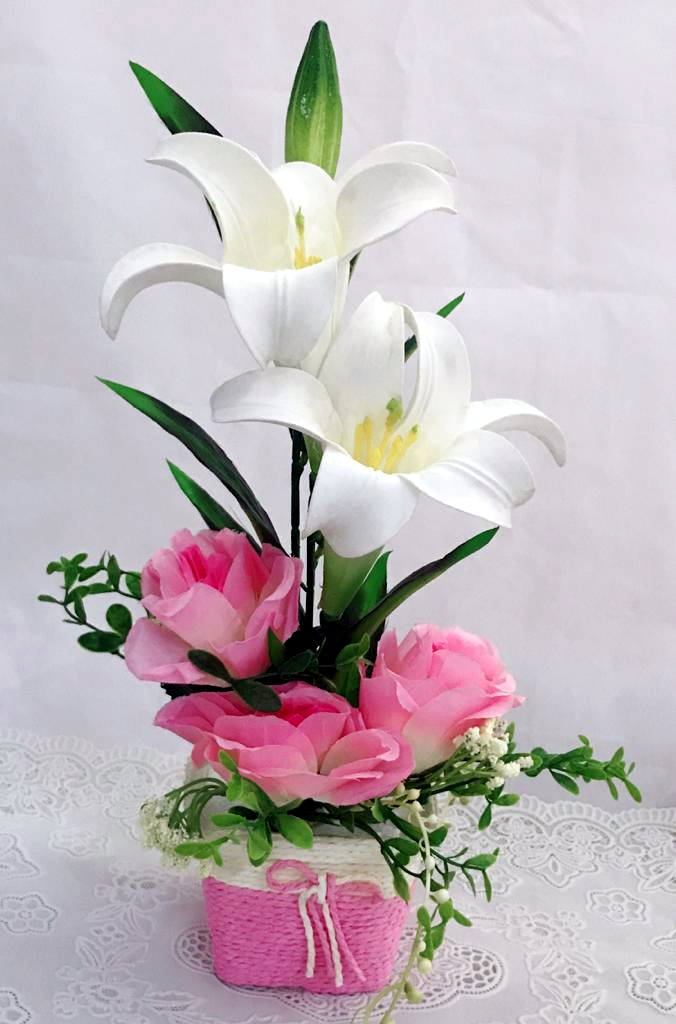 Artificial  2 Lilly Flowers & 1 Buds and 3 Pink Roses in Rafia Basket  (Only For Delhi)
