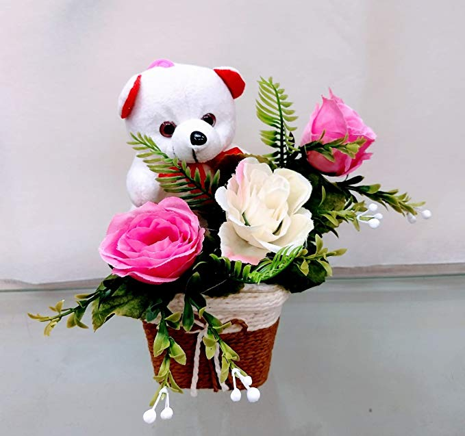 send flower Nangloi6Inch Teddy Arranged with 3 Artificial Roses in Pot (Only For Delhi)