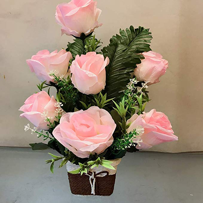 7 Pink Artificial Roses Arrangement in Rafia Basket  (Only For Delhi)