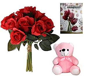 send flower Defence Colony DelhiArtificial Roses Lovable Combo (Only For Delhi)