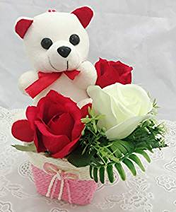 send flower Kidwai Nagar Delhi6Inch Teddy Arranged with 3 Artificial Roses in a pot (Only For Delhi)