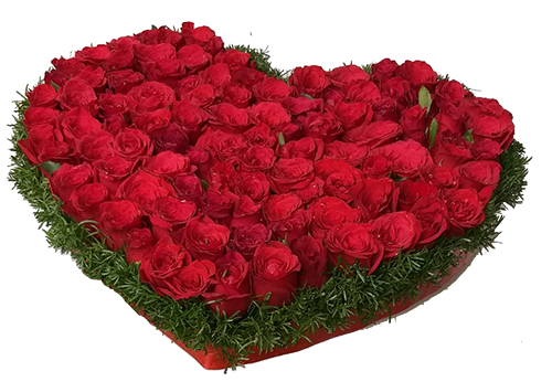 send flower Bhajan Pura DelhiHeartshape Arrangement of 50 Red Roses