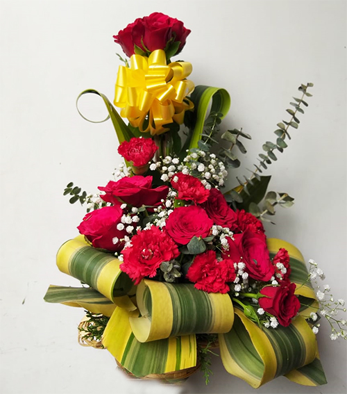 send flower Vasant viharArrangement of 10 Red Roses & 10 Red Carnation
