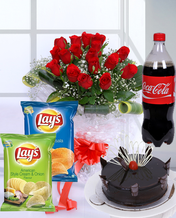 send flower Defence Colony DelhiBirthday Blast - Flowers, Cake, Chips and Coca Cola