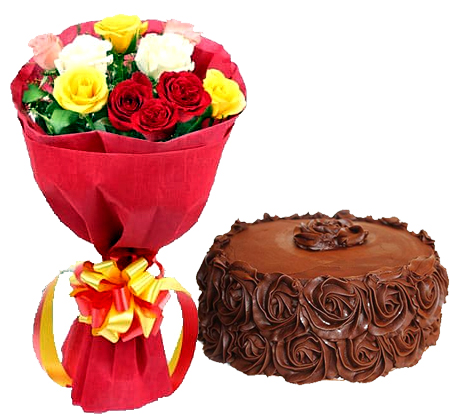 Mixed Roses with Choco Rose Cake