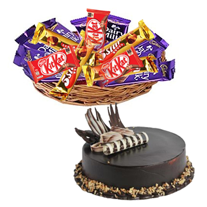 Basket of 12 Mix Chocolates with 1/2kg Choco Walnut Cakes