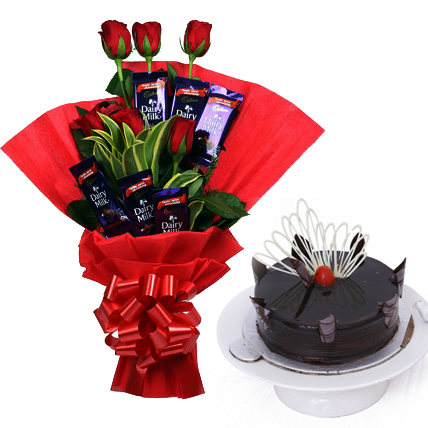 send flower Seelampur DelhiBunch of 8 Red Roses with 6 Chocolate and 1/2kg Cake