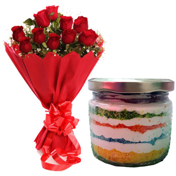 15 Red Roses and 300gms cheese cream cake in Jar.