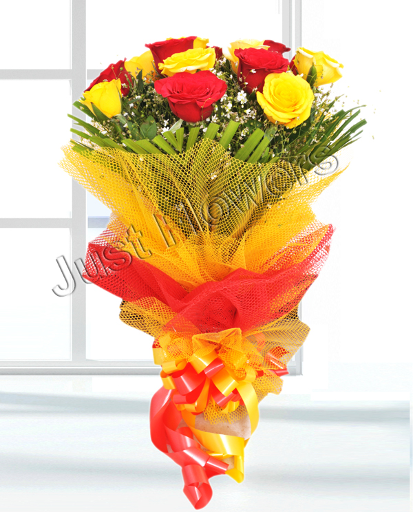 send flower Karam Pura Delhi12 Red & Yellow Roses Bunch