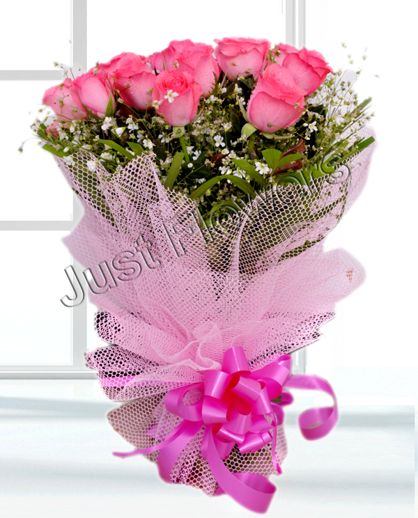 send flower Bhajan Pura Delhi12 Pink Roses Bunch
