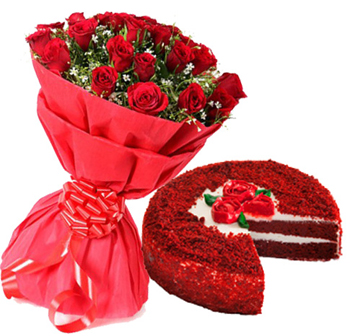 send flower Defence Colony DelhiRed Velvet Cake with 15 Red Roses