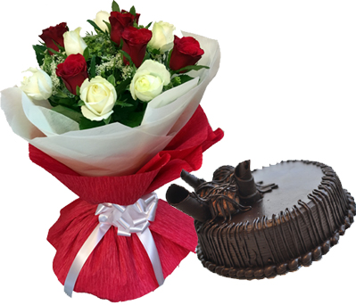 Red & white Roses with 1/2kg choco mud Cake