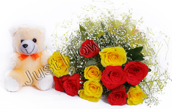 Red & Yellow Roses with Teddy